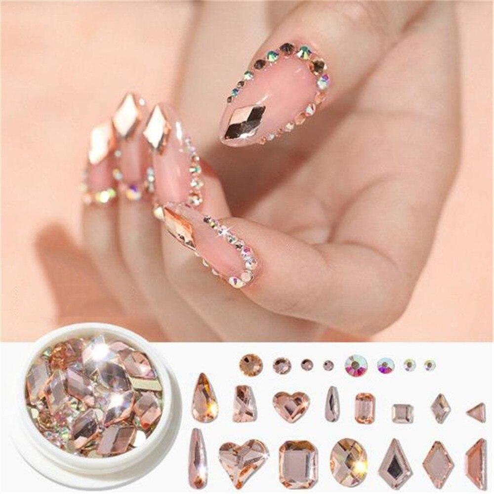 Mixed-size Nail Rhinestones Acrylic Shinning Nail Decoration AB Nail Rhinestones Horse Eye/Waterdrop/Crystal Glitter Nail Stones