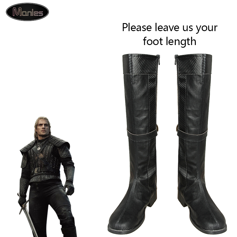 Wild Hunt Geralt Of Rivia Costume Cosplay Boots Only Shoes Knee High Leather Black Halloween Adult Custom