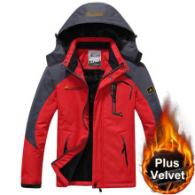 Veste d'hiver coupe-vent épais velours chaud à capuche manteaux imperméable en plein air Camping randonnée polaire vestes 5XL 6XL vêtements de chasse