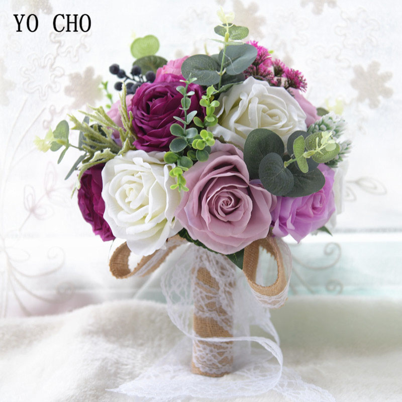 YO CHO Silk Roses Peony Wedding Bridal Bouquet Artificial Flower Wedding Bouquet for Bridesmaids Hand Flore Marriage Accessories