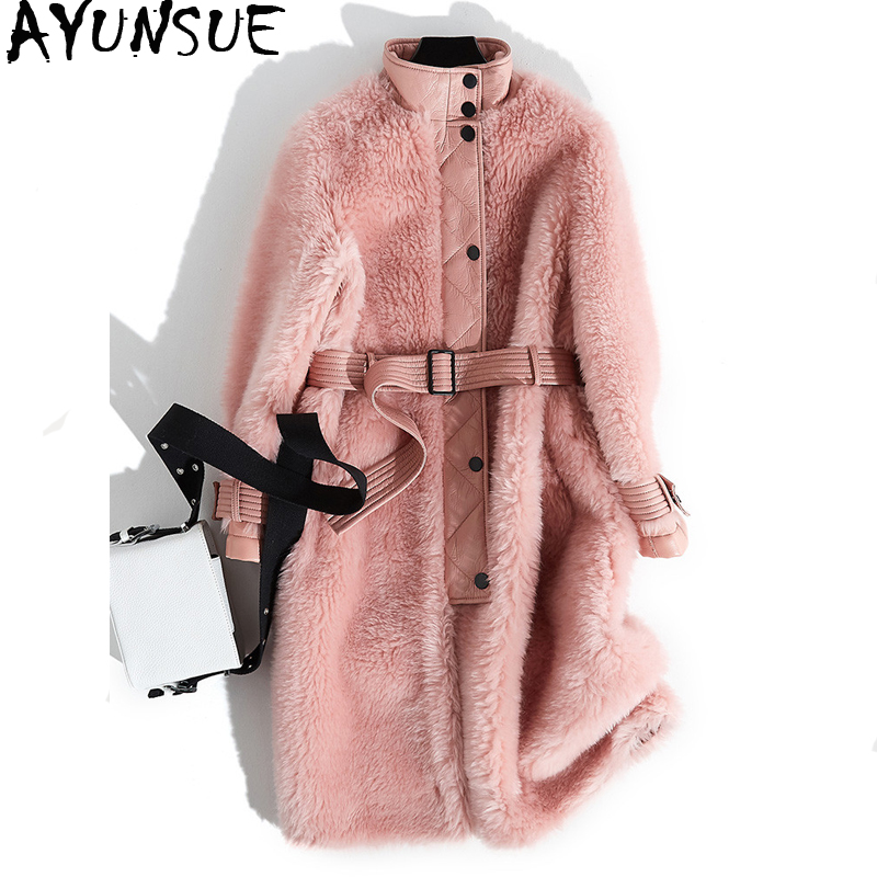 Winter Jacket Coats Real-Sheep-Shearling Pink Korean Women AYUNSUE Wool Long Female MY4041