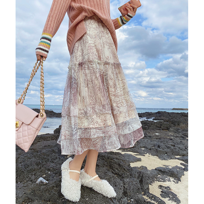 MISHOW Atumn Winter Flower Printing Skirt Women Causal Sweety High Waist Pleated Skirt MX19D1888