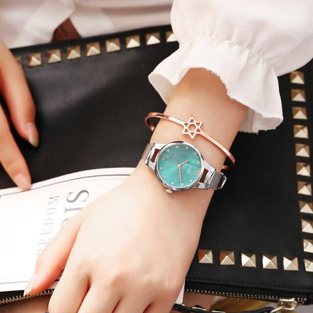 שעון קוורץ לאישה עם רצועת רשת