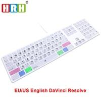 HRH DaVinci Resolve Hot keys Keyboard Cover Skin For Apple Keyboard with Numeric Keypad Wired USB for iMac G6 DesktopPC Wired
