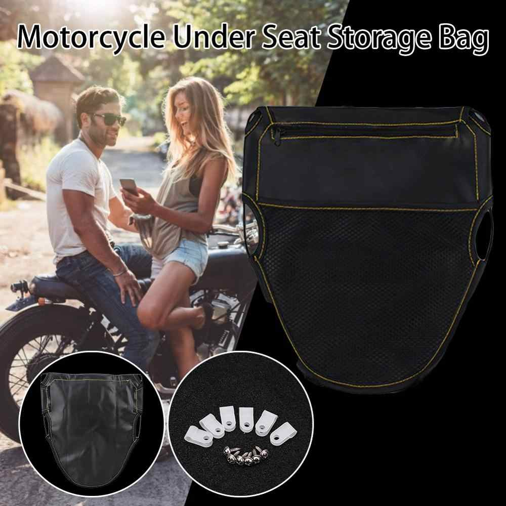 Seat Bag Under Seat Storage Pouch Suitable for Motorcycle and Scooter Seat Storage Organizer with Dual Pockets Design and Elastic Band Design to Keep Your Daily Necessities Easy to Reach