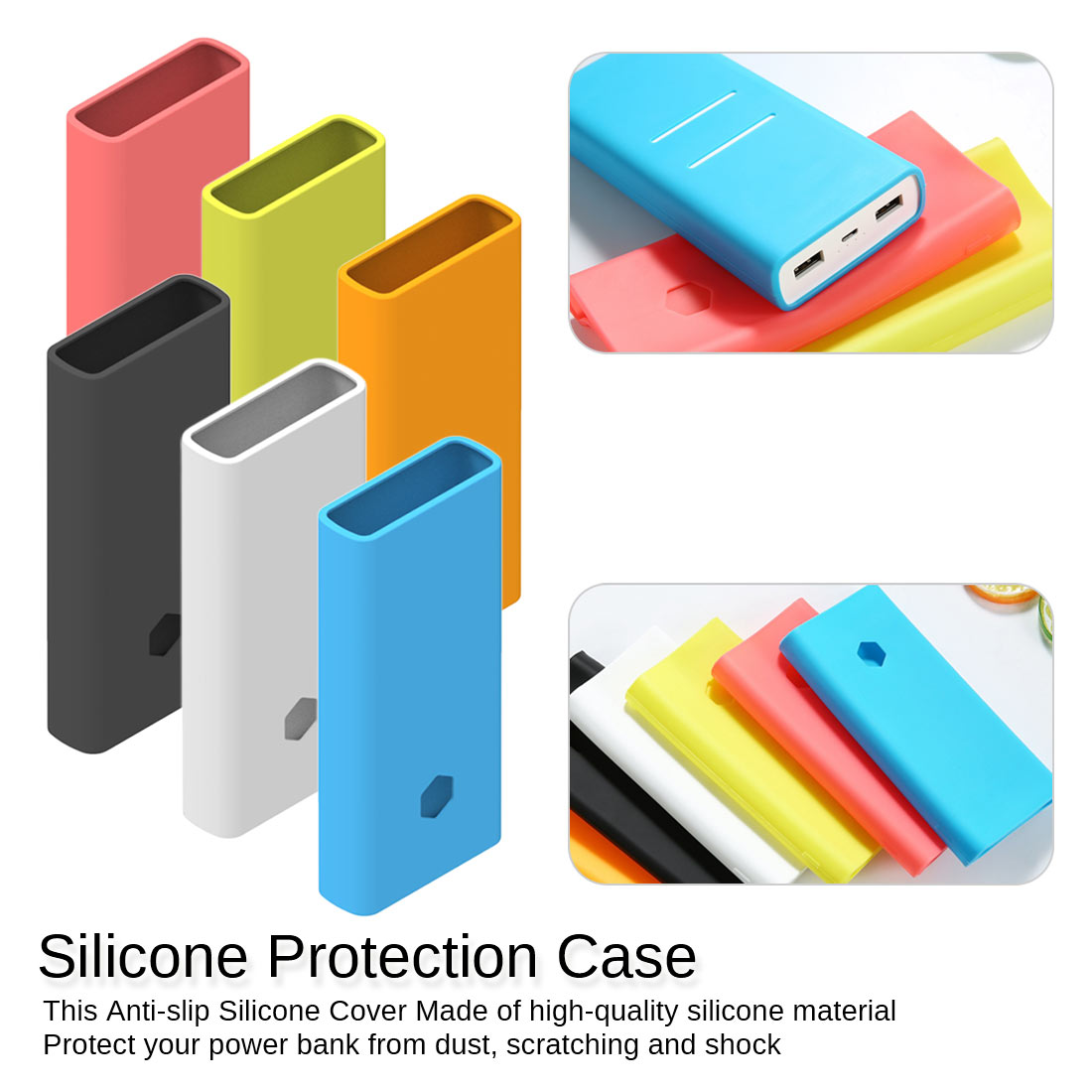 Silicone Case For Xiaomi Power Bank 20000mah 2C Shell Rubber Protective Cover For Xiaomi Power Bank Accessories Color Random