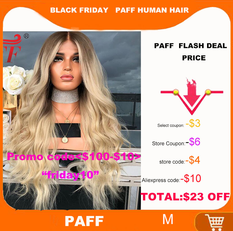 PAFF 4T/613 Two Tone Ombre Blonde 180 Density Natural Wave Human Hair Wig Full Lace Glueless Wigs Pre Plucked Bleached Knots