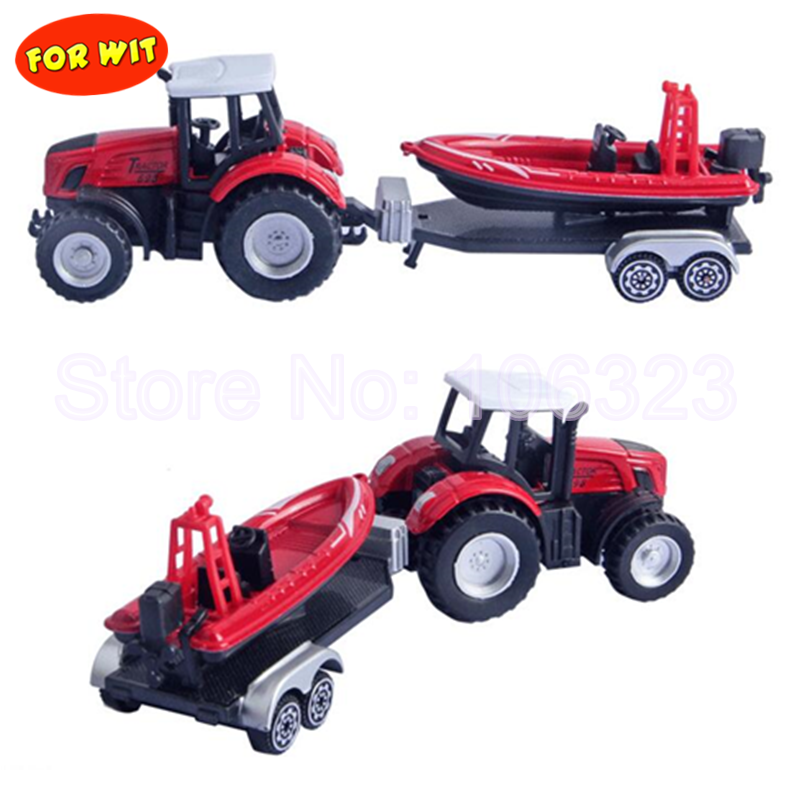 Toy Farm Tractor Truck with Trailer, Plastic Die Cast Metal Vehicle Model Trail Frame carry Beach Motorcycle Aeroplane Fast Boat
