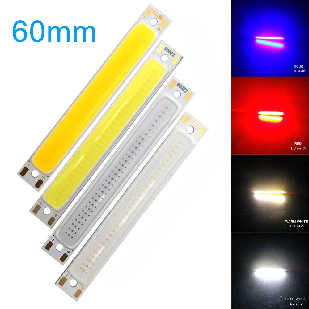 LED COB Strip Light Bulb 8mm X 60mm 3W LED Work Floodlight Source Chip Beads DC 3V For DIY Lamp Super Bright Red Blue White