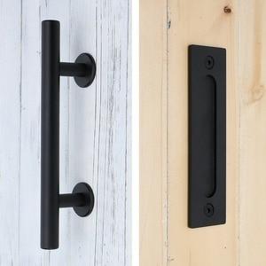 Image 1 - פחמן פלדה הזזה אסם דלת למשוך ידית עץ דלת ידית שחור ידיות דלתות הפנים ידית