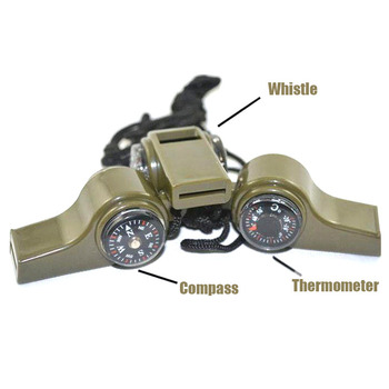 3 In 1 Compass Thermometer Survival Whistle Outdoor Military Tactical Multi Tool Emergency Equipment Camping Hiking Hunting Gear 2