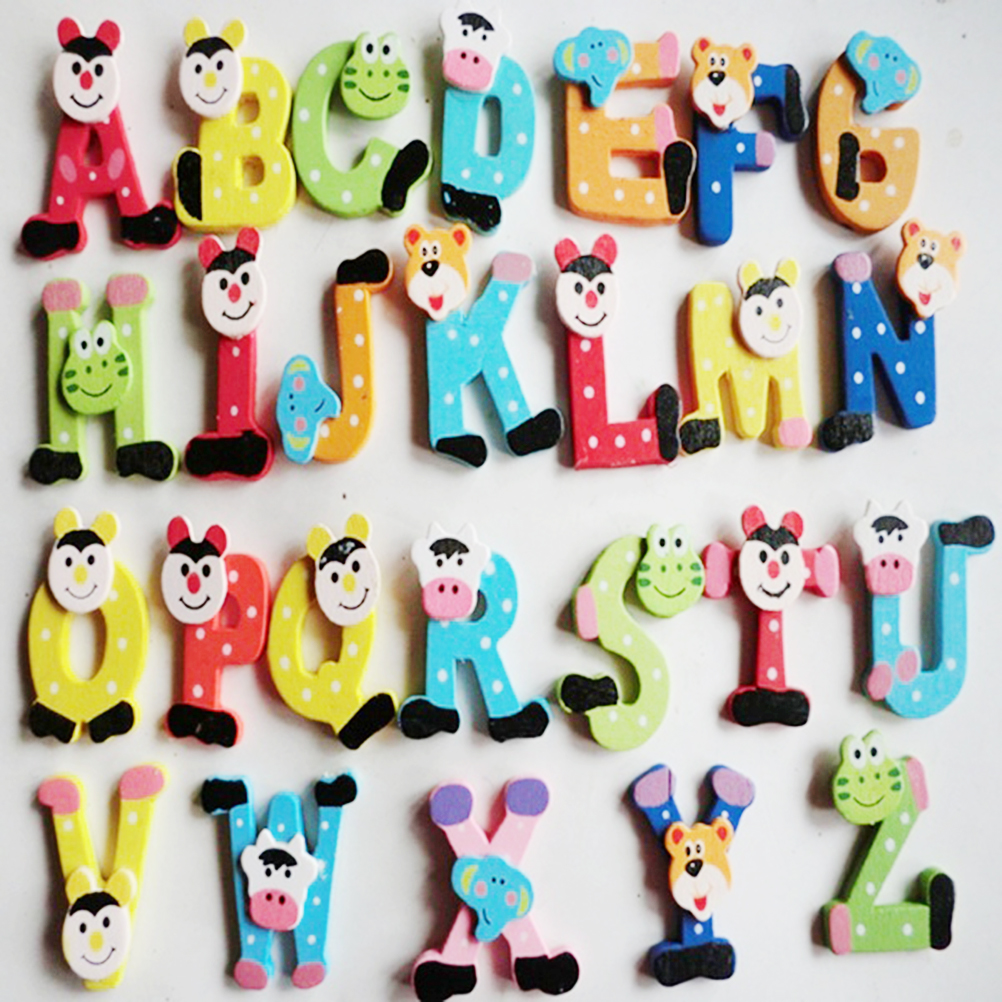 26Pcs Alphabet Magnetic Letters Baby Toy Wooden Cartoon Alphabet A-Z Magnets Fridge Stickers Child Educational Toys