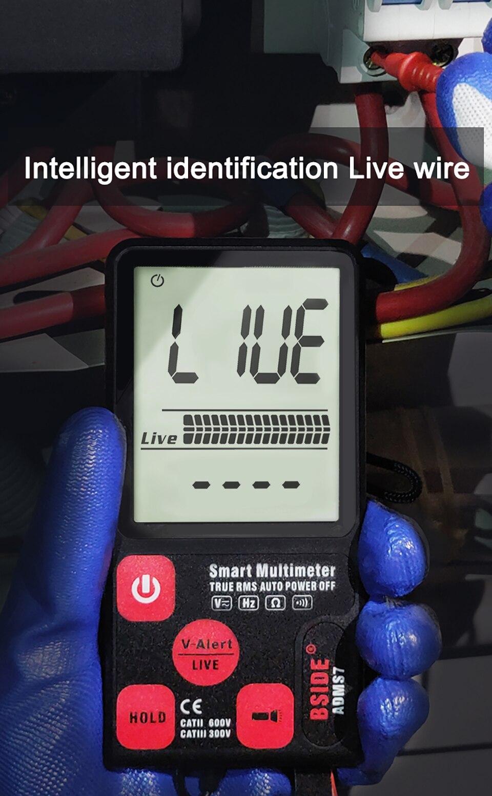 """H04cbb65e8ac04c39ad9ce634f1e89c4dn Ultra-Portable Digital Multimeter BSIDE ADMS7 S9CL Large 3.5"""" LCD 3-Line Display Voltmeter DMM AC DC Voltage NCV Ohm Hz Tester"""