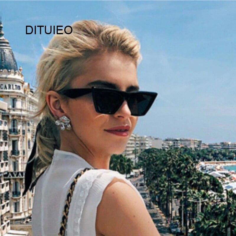 New Mirror Fashion Brand Designer Cat Eye Women Sunglasses Female Black Lady Sun Glasses Small Oculos Feminino De Sol