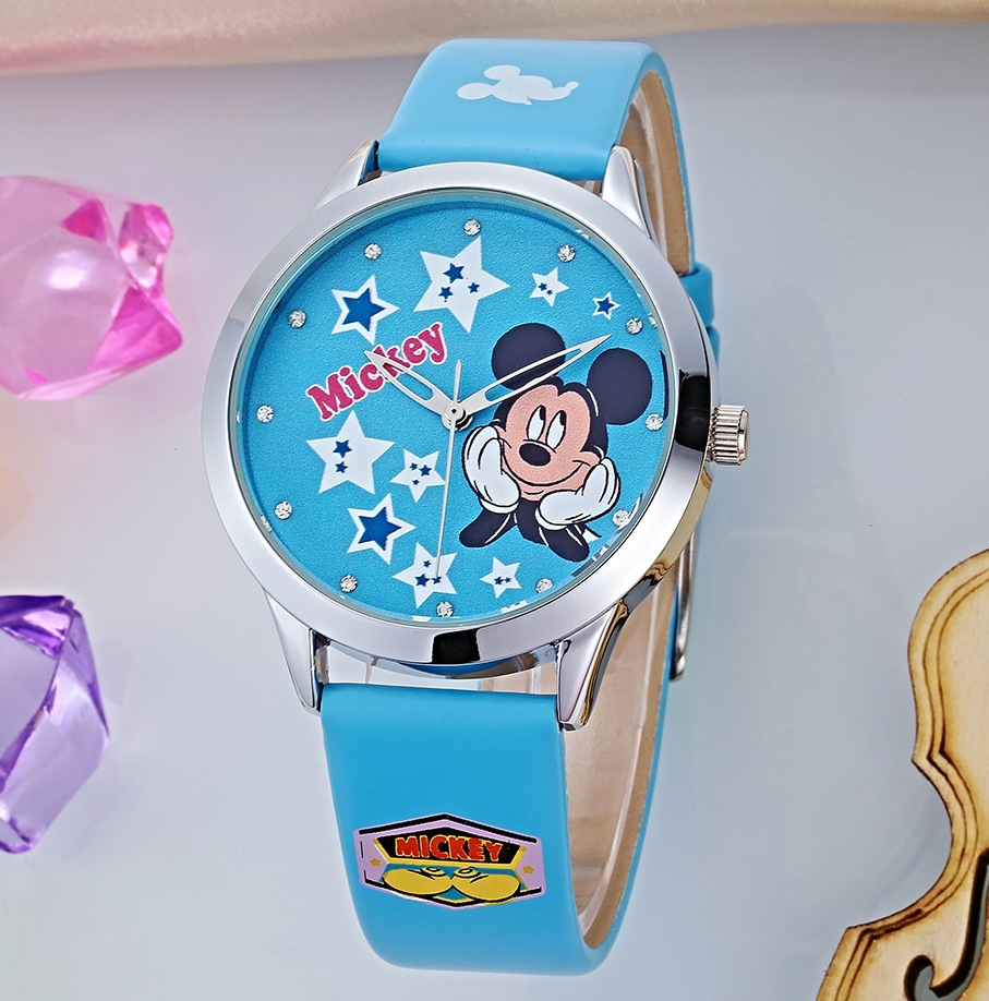 Disney Mickey Mouse Cartoon Wristwatch Mickey Belt Fashion Watch Children Quartz Watch Kids Watches Boys Quartz Water Resistant