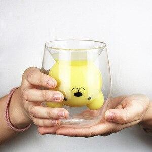 Image 3 - 250ml קריקטורה בעלי החיים דוב קפה ספל חמוד חתול כפול זכוכית מיץ כוס קפה ספלי creative כוסות וספלים
