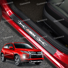 For Mitsubishi Asx Auto Door sill Trim Pedal Sticker Accessories Styling Carbon Fibre Texture Leather PU Car Protector Cover