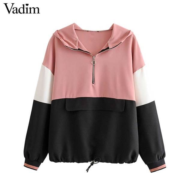 Vadim women chic patchwork hooded sweatshirts long sleeve drawsting tie loose pullovers female outwear casual tops HA491