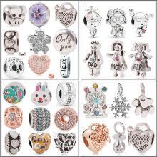 Couqcy New Silver Beads Balloon Rhinoceros Leopard Zebra Flower Pendant Charm Fit Pandora Women DIY Bracelets Bangles Jewelry(China)