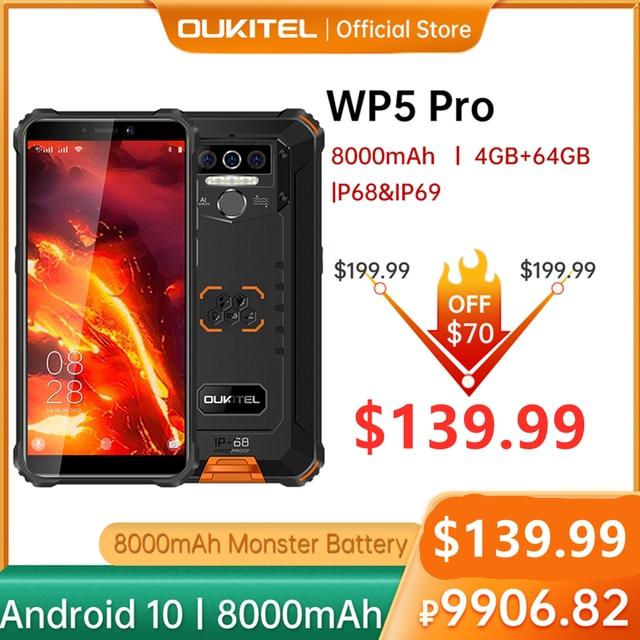 OUKITEL 4GB 64GB WP5 Pro Smartphone 8000mAh 5.5 Inches Android10 Mobile Phone Triple Camera Face/Fingerprint Unlock IP68 Phone 1