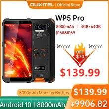 OUKITEL 4 Гб 64 Гб WP5 Pro смартфон 8000 мАч 5,5 дюйма Android10 мобильный телефон тройной Камера уход за кожей лица/отпечатков пальцев разблокированная IP68 ч...