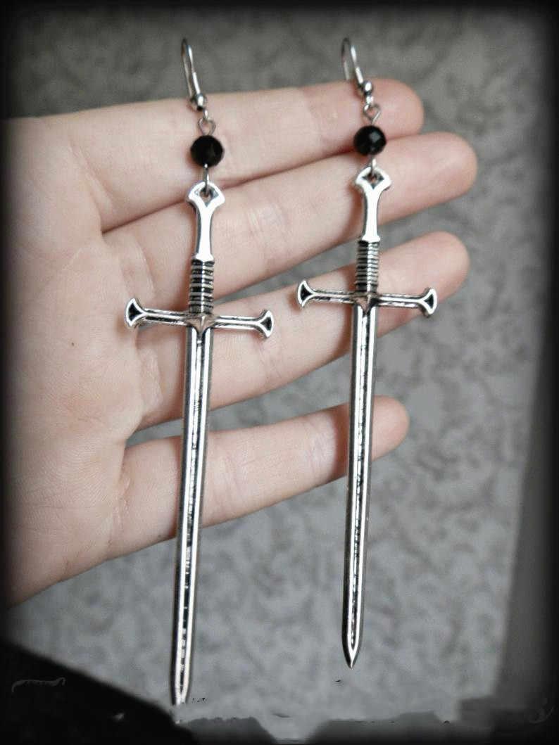 Gótico antigo prata espada brincos e vidro de cristal clássico tarô ocultismo escuro jóias enviar moda feminina presente clássicos novo