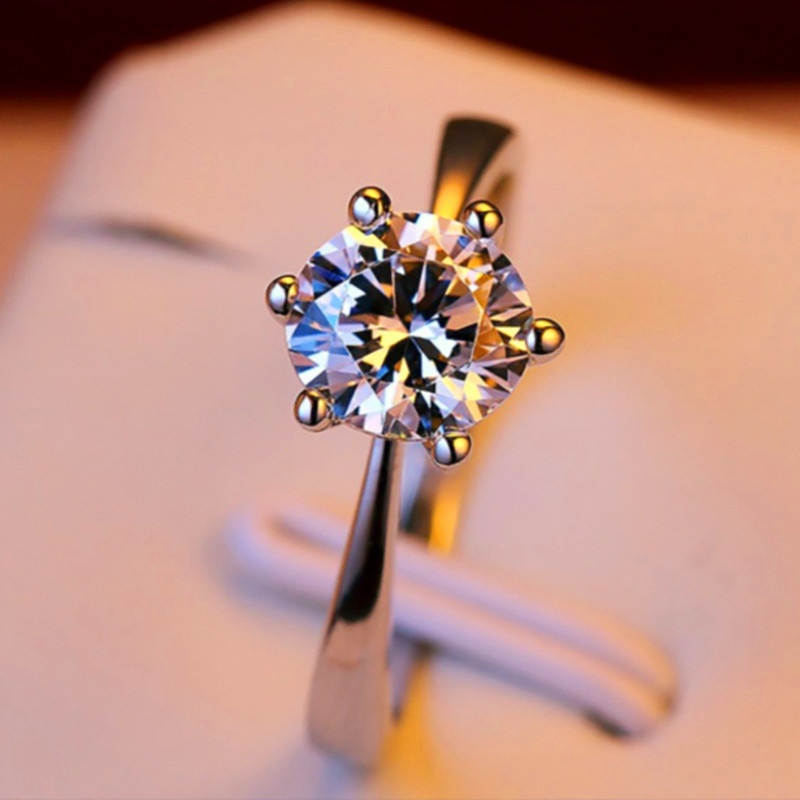 925 Solitaire Sterling Women Girl Silver Crystal Promise Engagement Wedding Ring