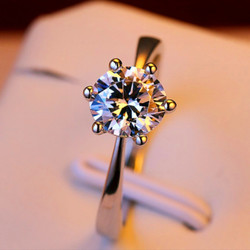Luxury Female Crystal Zircon Stone Ring Silver Color Solitaire Ring Wedding Band Promise Love Engagement Rings For Women