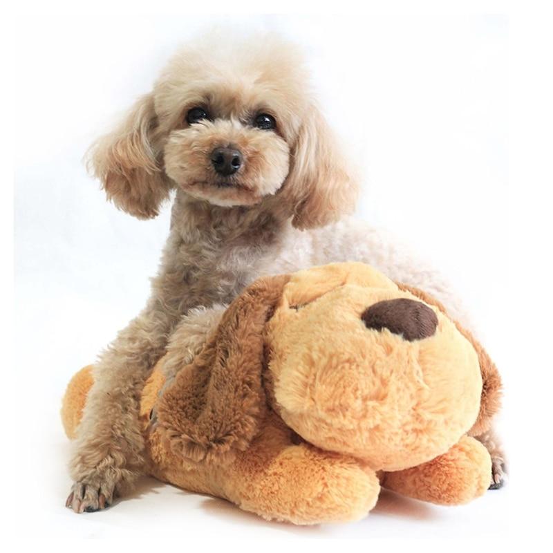 Cute Heartbeat Puppy Behavioral Training Toy Plush Pet Comfortable Snuggle Sleep