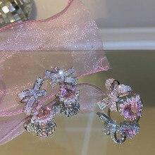 MENGJIQIAO-Pendientes de gota de Micro pavé de circón delicado para mujer, aretes de cristal rosa a la moda, regalos de joyería
