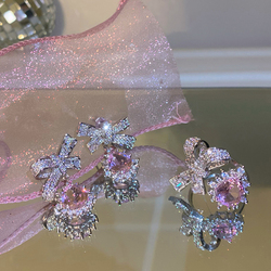 MENGJIQIAO Korean Delicate Zircon Micro Paved Bowknot Drop Earrings For Women Fashion Pink Crystal Pendientes Jewelry Gifts