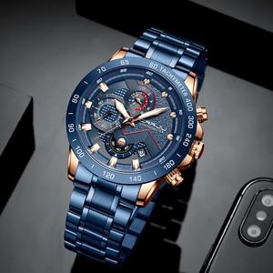 Image 3 - Mens שעון יוקרה למעלה מותג CRRJU שעון אופנה ספורט עמיד למים הכרונוגרף גברים של Satianless פלדת שעוני יד Relogio Masculino