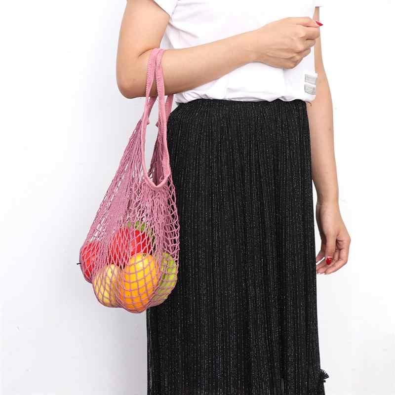 Reutilizável saco De Compras de Frutas Corda Mercearia Shopper Tote do Algodão Malha Tecida Ombro Net Saco de Rede de Malha Saco de Compras (Rosa)