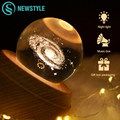 3D USB Перезаряжаемый хрустальный шар светодиодный космический ночной Светильник для рождества  дня рождения  вечеринки  спальни  гостиной  в...