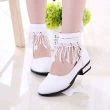 Tassel Girls Princess Shoes Flower Girl White Leather Shoes