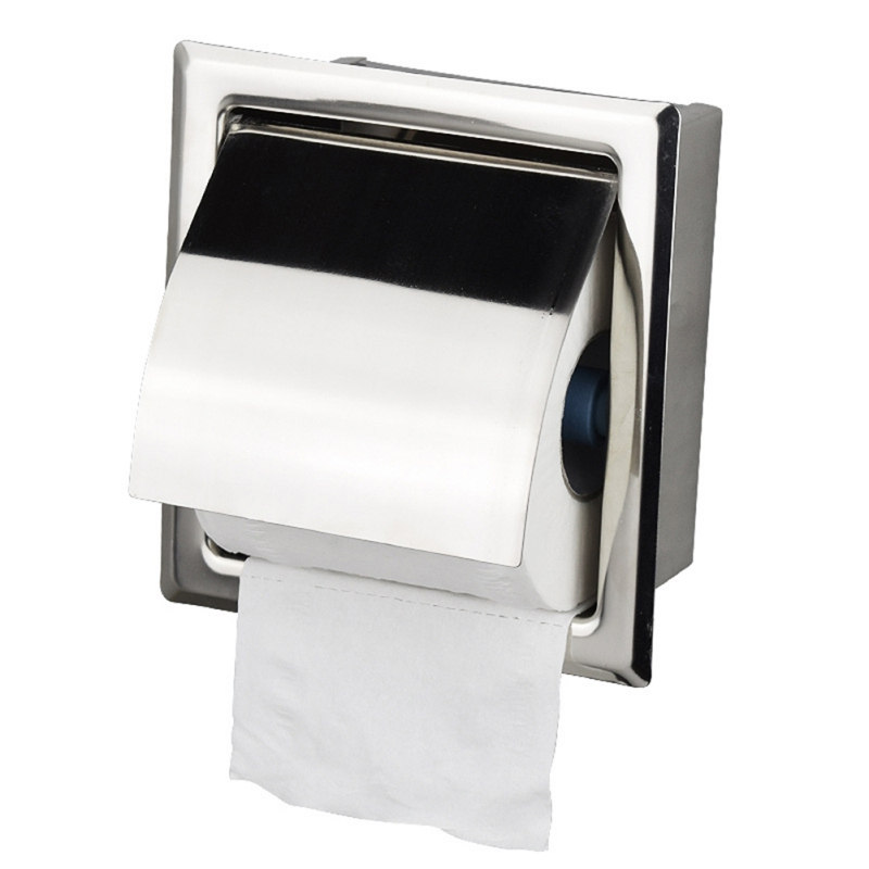 Built-in-wall Toilet Paper Box Stainless Steel Wall Installation Integrated Bathroom Tray Concealed Hand Box Bathroom Supplies