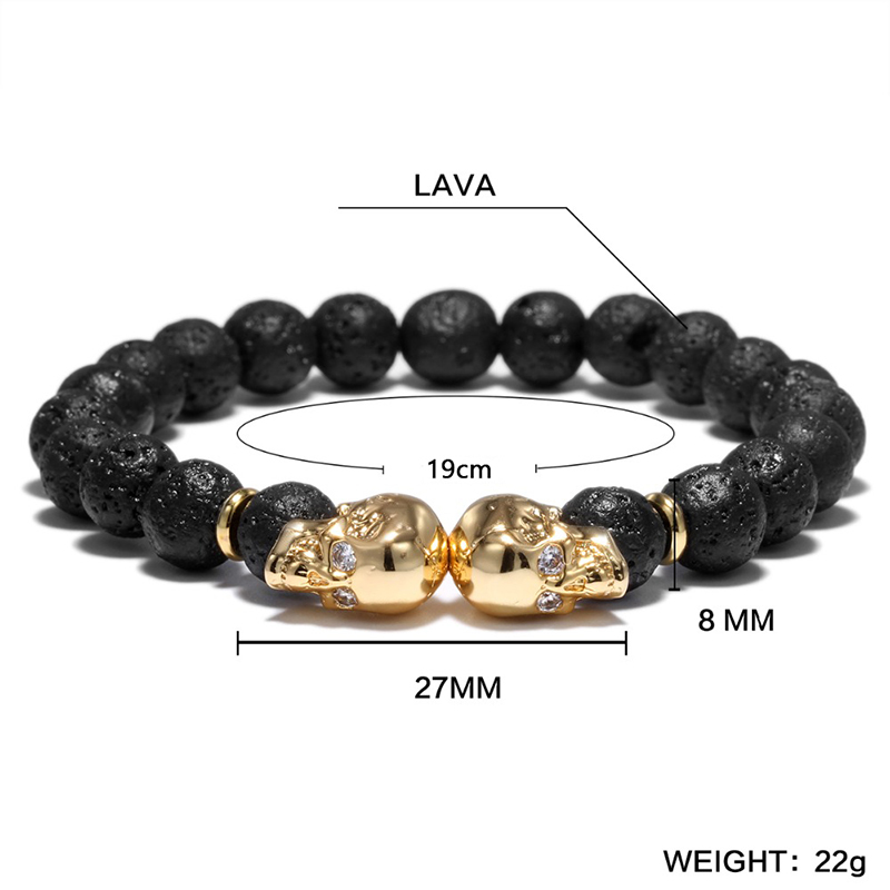 Punk Double Skull Head Design Beads Bracelet 4 Color Natural Stone Beaded Lava Braclet For Men Biker Wristband Jewelry Homme
