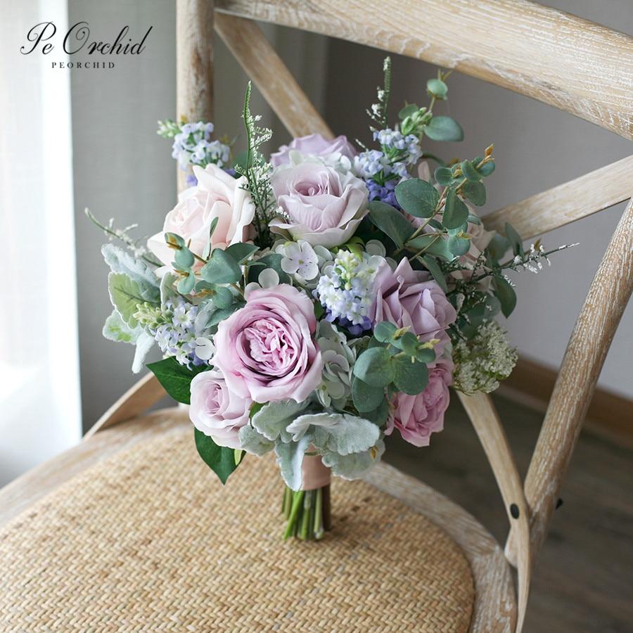 Bouquet de fleurs de mariée bleu et violet Vintage peorchidée décoration de mariage mariée Ramo Novia pivoine Rose Bouquet de campagne artificiel