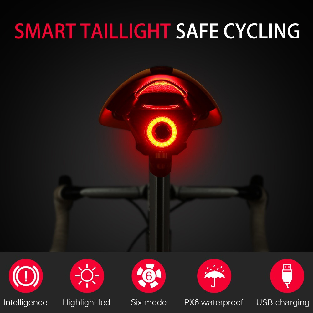 Smart Bicycle Rear Light Auto Start/Stop Brake Sensing Light Cycling Taillight IPx6 Waterproof LED USB Charging Bike Accessories