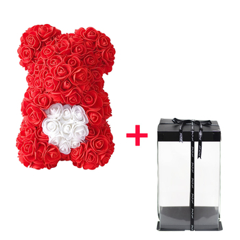 artificial rose teddy bear with ribbon bow muilticolored pe foam flower doll romantic anniversary birthday valentine's day gift - buy at the price of $16.10 in dhgate.com   imall.com