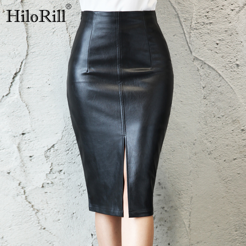 Skirts Womens 2020 Black Leather Midi Plus Size Skirt Autumn Sexy Split Office PU Pencil Skirt High Waist Bodycon Skirts