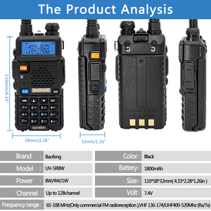 Image 2 - 2PCS Baofeng UV 5R Walkie Talkie UV5R วิทยุ CB Station 8W 10KM VHF UHF Dual Band UV 5R วิทยุสองทางสำหรับล่าสัตว์ HAM วิทยุ