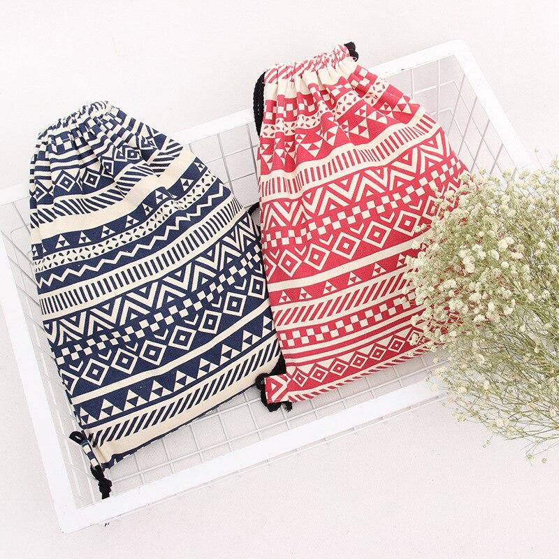 Stripe Shoulder Bags Women Cotton/Canvas  Backpack Bag Shoe Travel Pouch Portable Drawstring Storage Bags 35*40cm