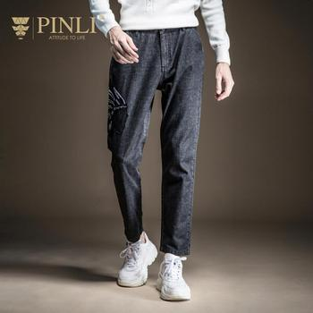 Sweatpants Promotion Pants Men Tactical Pants Pinli Fall 2019 New Men's Wear Youth Slim Bottom Embroidered Jeans B193116100