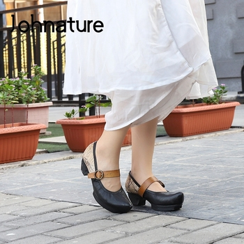 Johnature Retro 2020 New Spring Pumps Women Shoes Genuine Leather Platform Heels Buckle Strap Casual Pointed Toe Ladies Shoes