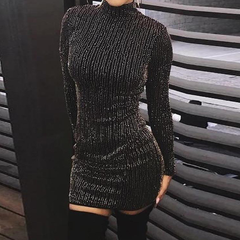 Linglewei New Spring and Summer Women's Dress sexy round neck long sleeve pencil dress