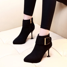 2019 Women Sexy Ankle Boots 8.5cm Super High Heel Shoes Winter Autumn Party Black Pointed Toe Boot CH-A0067