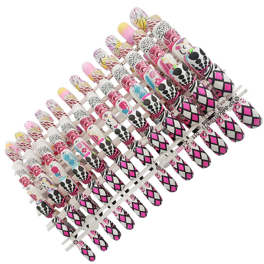 24 шт поддельные ногти с дизайном 96 цветов девушка ногти простые и удобные операции ногти советы