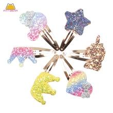 Crown Baby Hair Clip Cartoon Shiny Glitter Baby Hair Pins Girls Sequin Rainbow Baby Hair Clips Mermaid Accessories Cute Dreamy