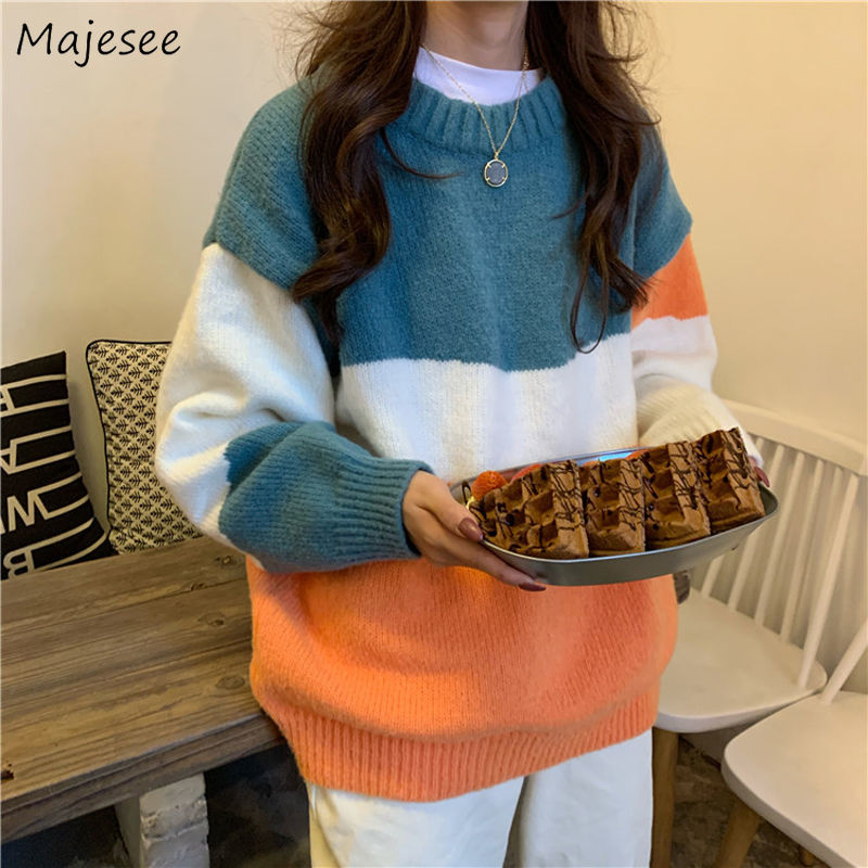 Sweaters Women Chic All-match Daily Loose Elegant Womens Patchwork Top Casual Outwear Trendy Fashionable O-Neck Cute Sweater
